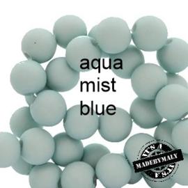 Mat acryl kralen rond 6mm aqua mist blue, 40 stuks