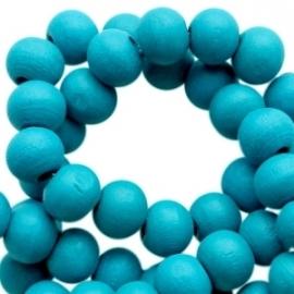 Houten kralen 8 mm rond Dark blue zircon blauw