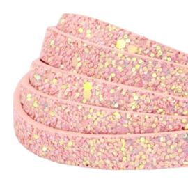 Imi leer 10mm plat leer glitters roze