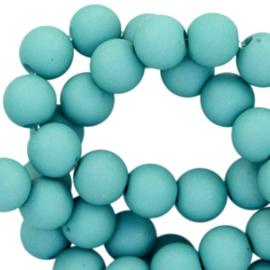 Mat acryl kralen rond 6mm Teal ocean  blue, 40 stuks