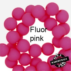 Mat acryl kralen rond 6mm Fluor pink, 40 stuks