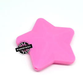 Siliconen ster roze  40 mm. groot, per stuk