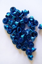 10 ronde eyelets metallic blauw