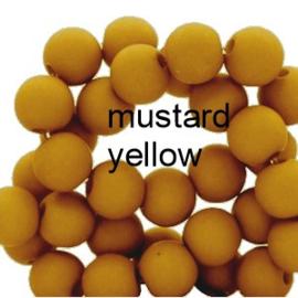 Mat acryl kralen rond 6mm mustard yellow, 40 stuks