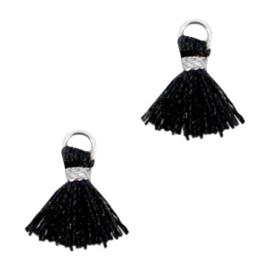 Ibiza style mini kwastje Zilver-Zwart