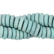 Keramiek disc kraal 6 mm zeeblauw