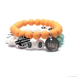 Kinderarmband telefoonnummer  en uni armbandenset (2 armbanden)  Kies zelf je kleuren