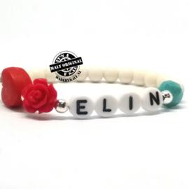 Kinderarmband naam  of telefoonnummer armbandmet bloem en hart. Kies zelf je kleuren