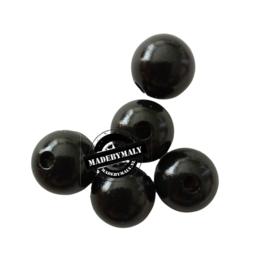 Houten kraal 15 mm rond zwart