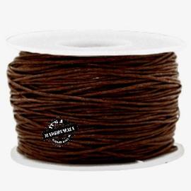 Waxkoord chocolade bruin 1 mm. dik, per meter