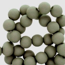 Mat acryl kralen rond 6mm pale olive green, 40 stuks