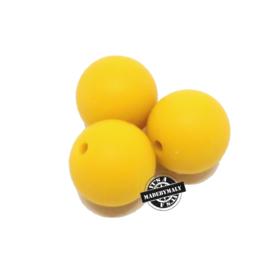 Siliconen kralen 12 mm. groot, mosterdgeel, per stuk