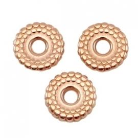 DQ metaal kralen disc 8 mm deco Rosé goud (nikkelvrij)