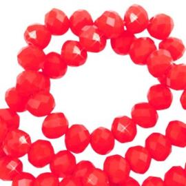 Facet kralen top quality disc 6x4mm - fel rood