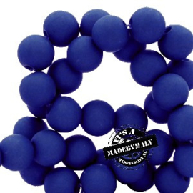 Mat acryl kralen rond 6mm kobaltblauw, 40 stuks
