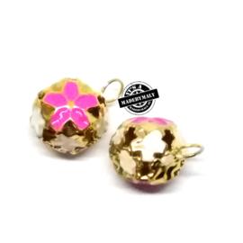 Gesloten belletje 15 mm goudkleurig met roze bloemmotief