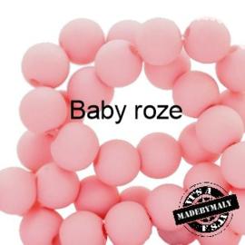 Mat acryl kralen rond 6mm Baby roze, 40 stuks
