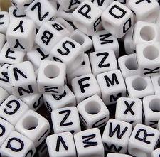 vierkante alfabetkralen wit, 6x6mm per stuk