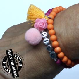 Kinderarmband, naamarmband en armband met bloem en kwastje  (2 armbanden)  Kies zelf je kleuren