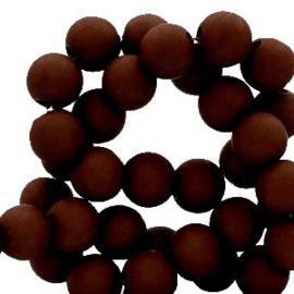 Mat acryl kralen rond 6mm bruin, 40 stuks