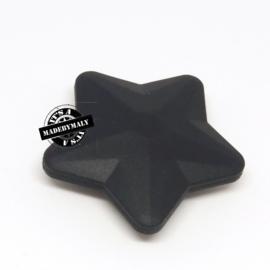 Siliconen ster zwart  40 mm. groot, per stuk