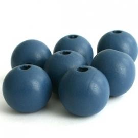 Houten kralen 12 mm Grijs Blauw