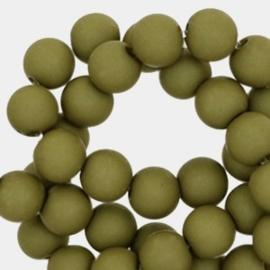 Mat acryl kralen rond 8 mm taupe green, 30 stuks