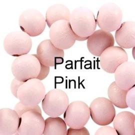 Houten kraal 8 mm rond parfait pink roze