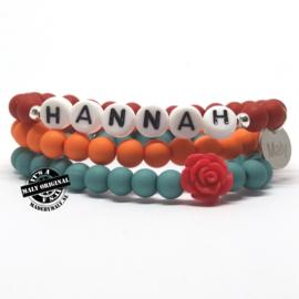 Prachtige naam armband, bloem armband en uni armbandenset  (3 armbanden)
