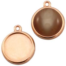 settings DQ metaal 1 oog voor 12 mm cabochon Rosé goud (nikkelvrij)