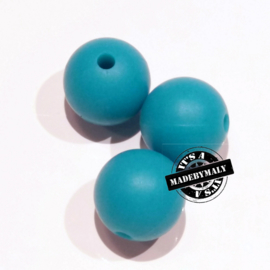 Siliconen kraal 12 mm. groot, turquoise , per stuk
