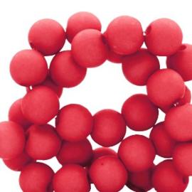 Mat acryl kralen rond 6mm Flame red, 40 stuks
