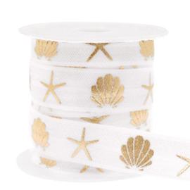 Elastisch lint,  wit met gouden schelp en zeester