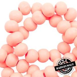 Houten kraal 6 mm rond seashell pink roze