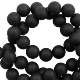 Mat acryl kralen rond 6mm mat zwart, 40 stuks
