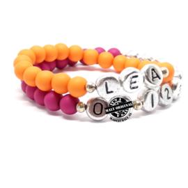 Kinderarmband naam  en telefoonnummer armband(2 armbanden)  Kies zelf je kleuren