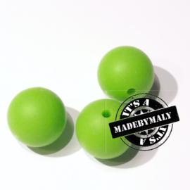 Siliconen kraal 15 mm. groot, limegroen, per stuk
