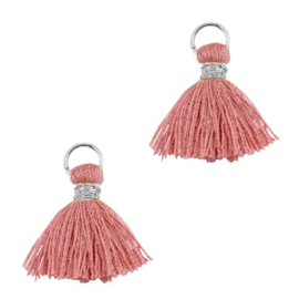 Ibiza style mini kwastje Zilver-antique rose