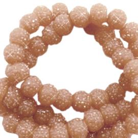 Sparkle sparkling beads 8 mm sierra bruin, 10 stuks