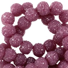 Sparkle sparkling beads 8 mm aubergine, 10 stuks