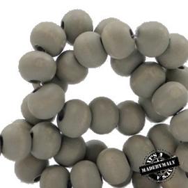 Houten kraal 12 mm Whitestone grijs
