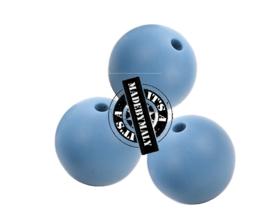 Siliconen kraal 15 mm. groot, jeansblauw, per stuk