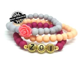 Naamarmband, bloem armband en uni armbandenset (3 armbanden)  Kies zelf je kleuren