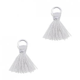 Ibiza style mini kwastje Zilver-Licht grijs