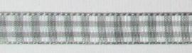 1 meter geruite band grijs-wit