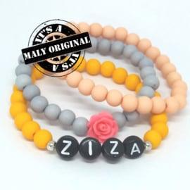 zwarte letterkralen Prachtige naamarmband, bloem armband en uni armbandenset  (3 armbanden)  Kies zelf je kleuren