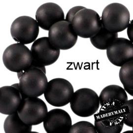 Mat acryl kralen rond 6mm zwart, 40 stuks