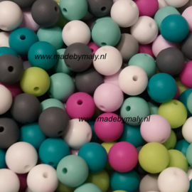 Siliconen kraal 19 mm. groot, roze, per stuk
