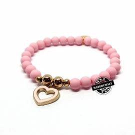 armband met lichtroze hartjes bedel (kies zelf je kleur)