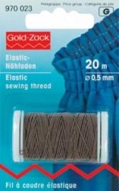 bruin elastiek 0,5 mm. dik, klosje van 20 meter